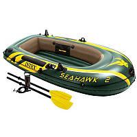 Двухместная надувная лодка Intex + пластиковые весла и ручной насос SeaHawk 2 Set 236x114x41 cм (68347)