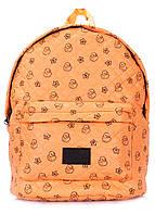 Рюкзак стеганый с уточками POOLPARTY (backpack-theone-orange-ducks)
