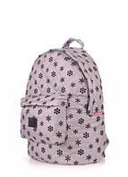 Рюкзак стеганый POOLPARTY (backpack-snowflakes-grey)