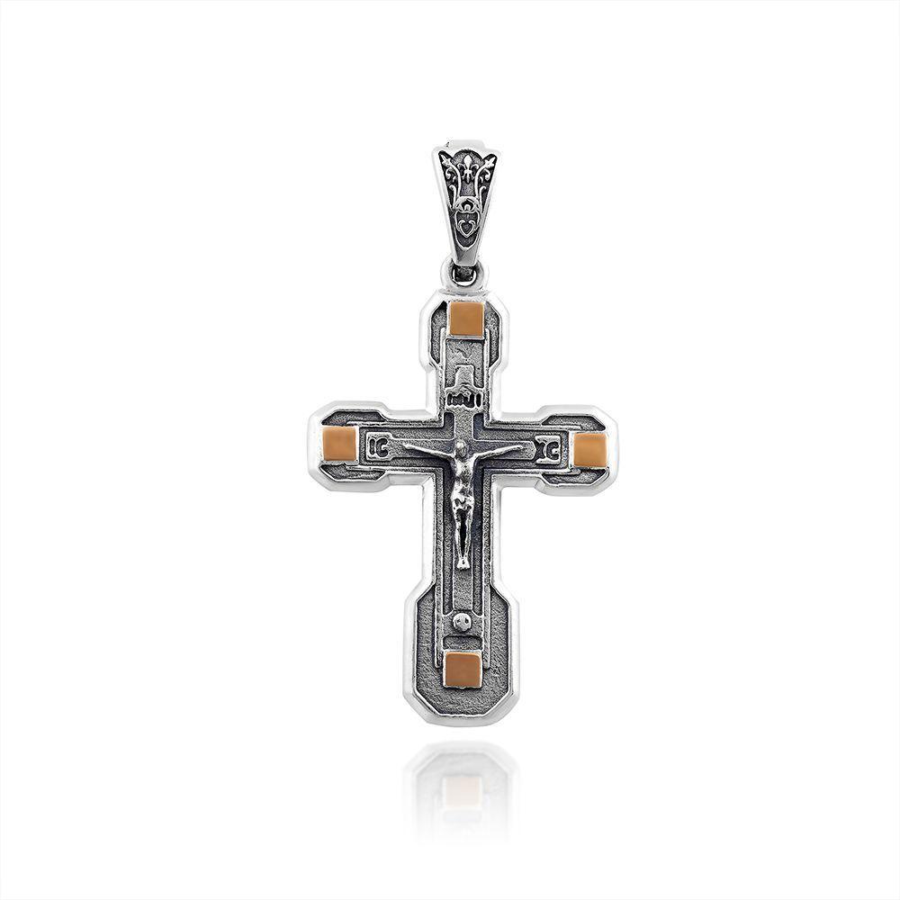 Крест из серебра и золота Юрьев арт.470 п
