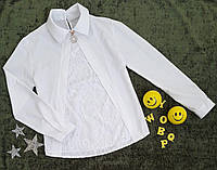 Блузка с длинным рукавом, р. 30-42, белый, фото 1