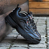 Стильные кроссовки Fila Disruptor II (черные), фото 1
