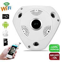 """Панорамная камера видеонаблюдения IP Wi-Fi camera (360 гадусов) потолочная VR 360 """"рыбий глаз"""""""