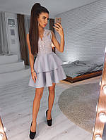 Неопреновое платье с пышной юбкой и кружевным верхом без рукавов