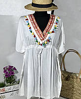 Красивая белая пляжная туника-парео коттон размер 46-50