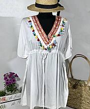 Красивая белая пляжная туника-парео коттон размер 46-52