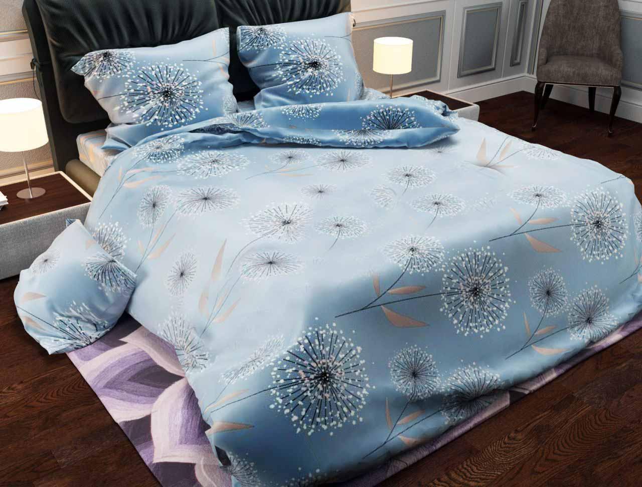 """Комплект постельного белья """"Одуванчик"""" на серо голубом  семейный размер"""