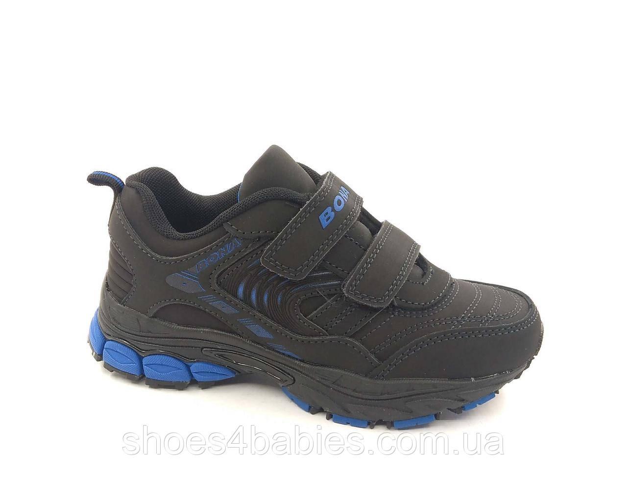 Кроссовки кожаные ТМ Bona 750L р. 31 - 36 для мальчика черные