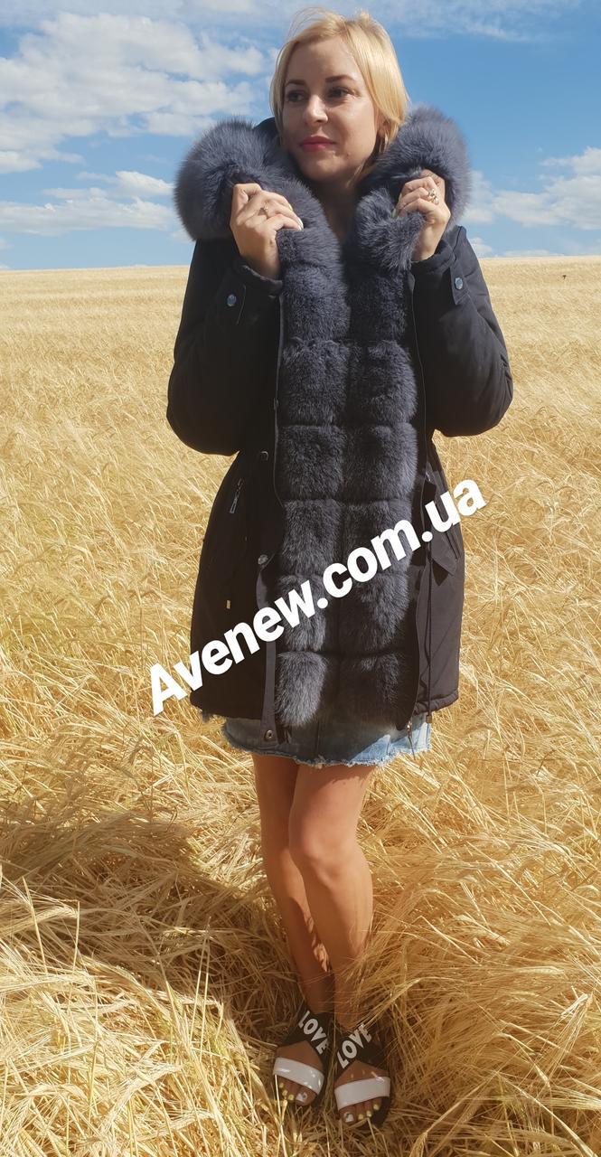 Женская зимняя парка с натуральным мехом песец