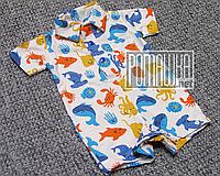 Детский ромпер 80 (74) 5 6 7 8 9 мес летний песочник футболка поло для мальчика малышей РИБАНА 4796 Бежевый