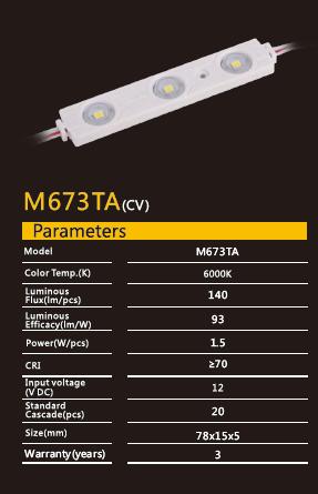 Світлодіодний модуль M673TA 6000K 1.5Вт 140лм для реклами Рішанг 10702