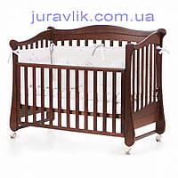 Детская кроватка  Соня  Орех. Можно поставить или на колеса или на маятник ЛД20