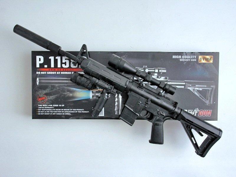 Автомат детский 1158D, копия винтовки М16, на пульках, лазер, фонарик