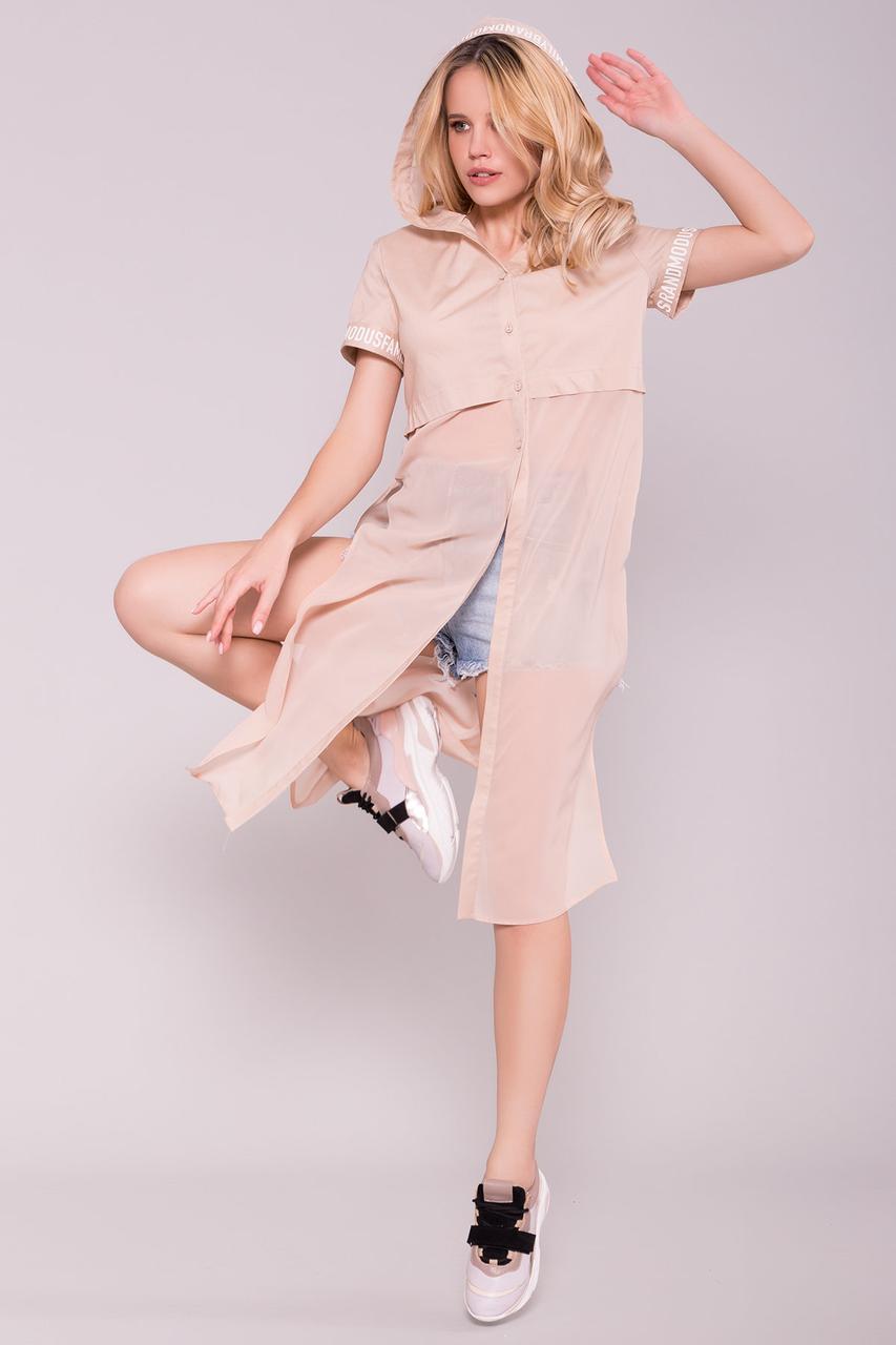 Платье рубашка Фиджи Коттон/Шифон с коротким рукавом и капюшоном