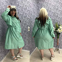 """Льняное платье-рубашка в полоску """"Шери"""" с карманами  (большие размеры), фото 3"""