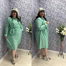 """Льняное платье-рубашка в полоску """"Шери"""" с карманами  (большие размеры), фото 2"""