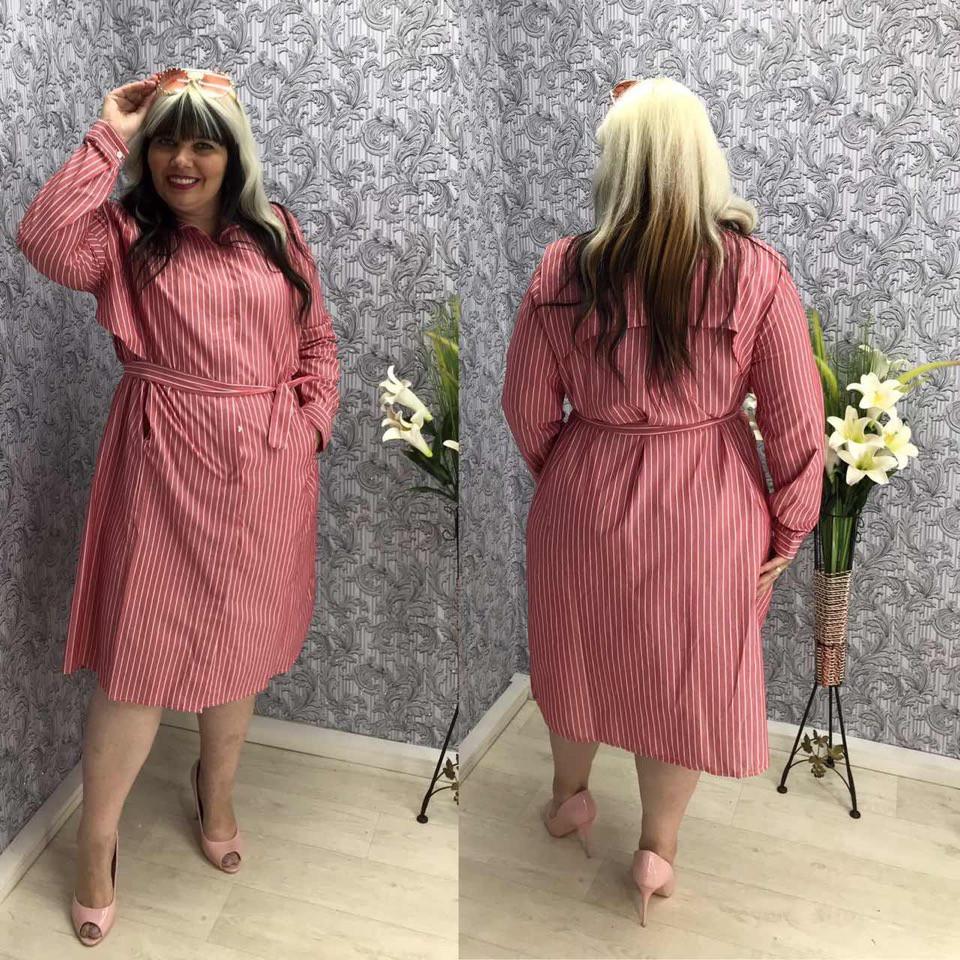 """Льняное платье-рубашка в полоску """"Шери"""" с карманами  (большие размеры)"""