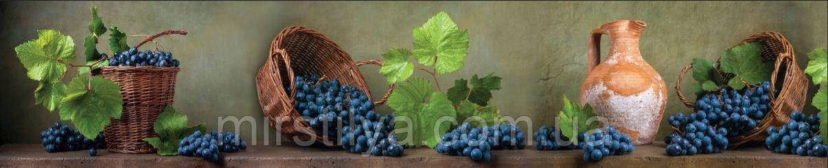 Стеклянный фартук для кухни - скинали виноград