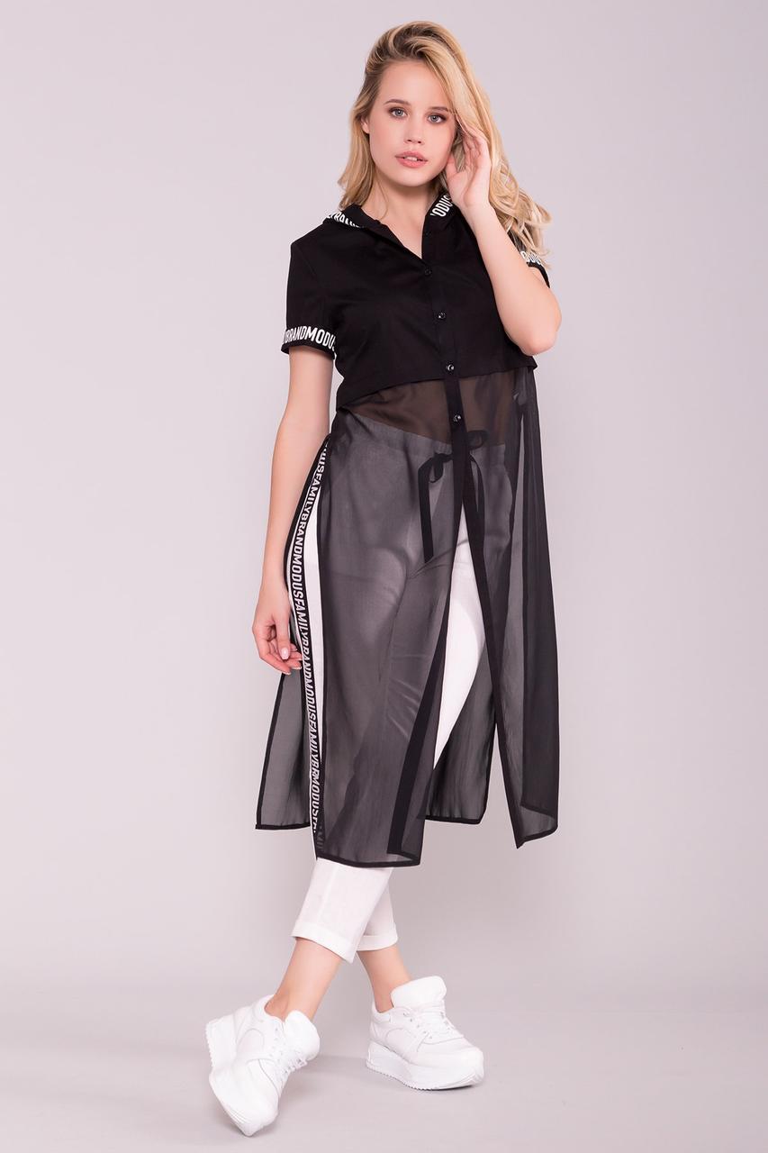 Платье рубашка Фиджи-1 Коттон/Шифон с коротким рукавом и капюшоном