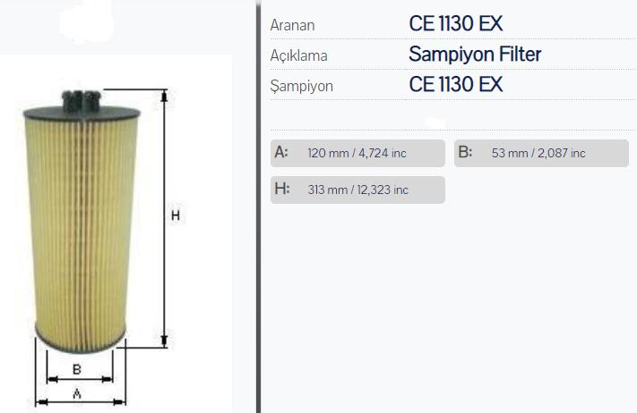 OX168D, Фильтр масляный OM501/502 OX168 MB