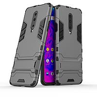 Чехол Hybrid case для OnePlus 7 Pro бампер с подставкой темно-серый