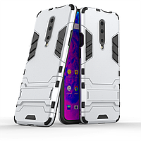 Чехол Hybrid case для OnePlus 7 Pro бампер с подставкой светло-серый