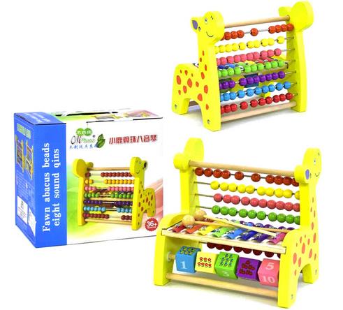 Ксилофон цветной детский.Деревянная игра ксилофон и счеты.
