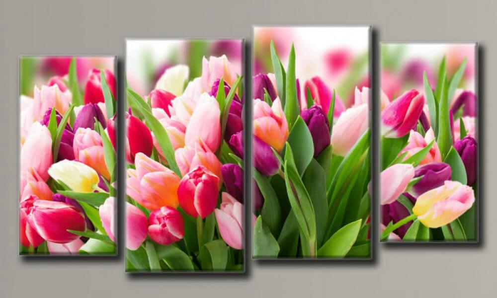 Модульная картина Розовые тюльпаны 58х108 см (HAF-114)