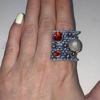 Гранат жемчуг кольцо с камнем гранат и жемчуг в серебре. Кольцо с гранатом размер 20 Индия, фото 1