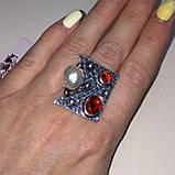 Гранат жемчуг кольцо с камнем гранат и жемчуг в серебре. Кольцо с гранатом размер 20 Индия, фото 2