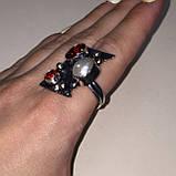 Гранат жемчуг кольцо с камнем гранат и жемчуг в серебре. Кольцо с гранатом размер 20 Индия, фото 4