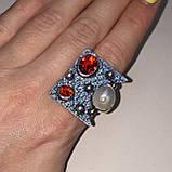 Гранат жемчуг кольцо с камнем гранат и жемчуг в серебре. Кольцо с гранатом размер 20 Индия, фото 3