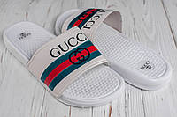 ⭐ Мужские белые сланцы шлепанцы Gucci (реплика)
