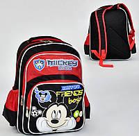 Школьный рюкзак Микки Маус черно-красный с ортопедической спинкой на 2 отделение и 3 кармана
