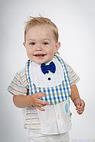 """Слюнявчики для новорожденных мальчика, """"Маэстро"""" Сине-желтая клеточка"""