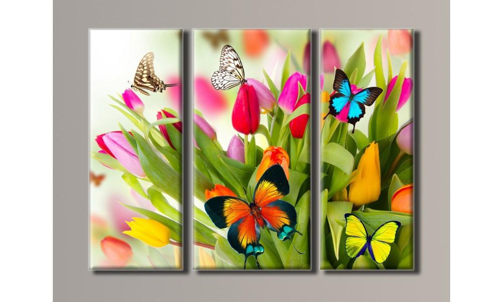 Модульная картина Бабочки на тюльпанах 54х73 см (HAT-036)