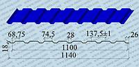 Профнастил ПС 18 (оцинкованный, с полимерным покрытием)