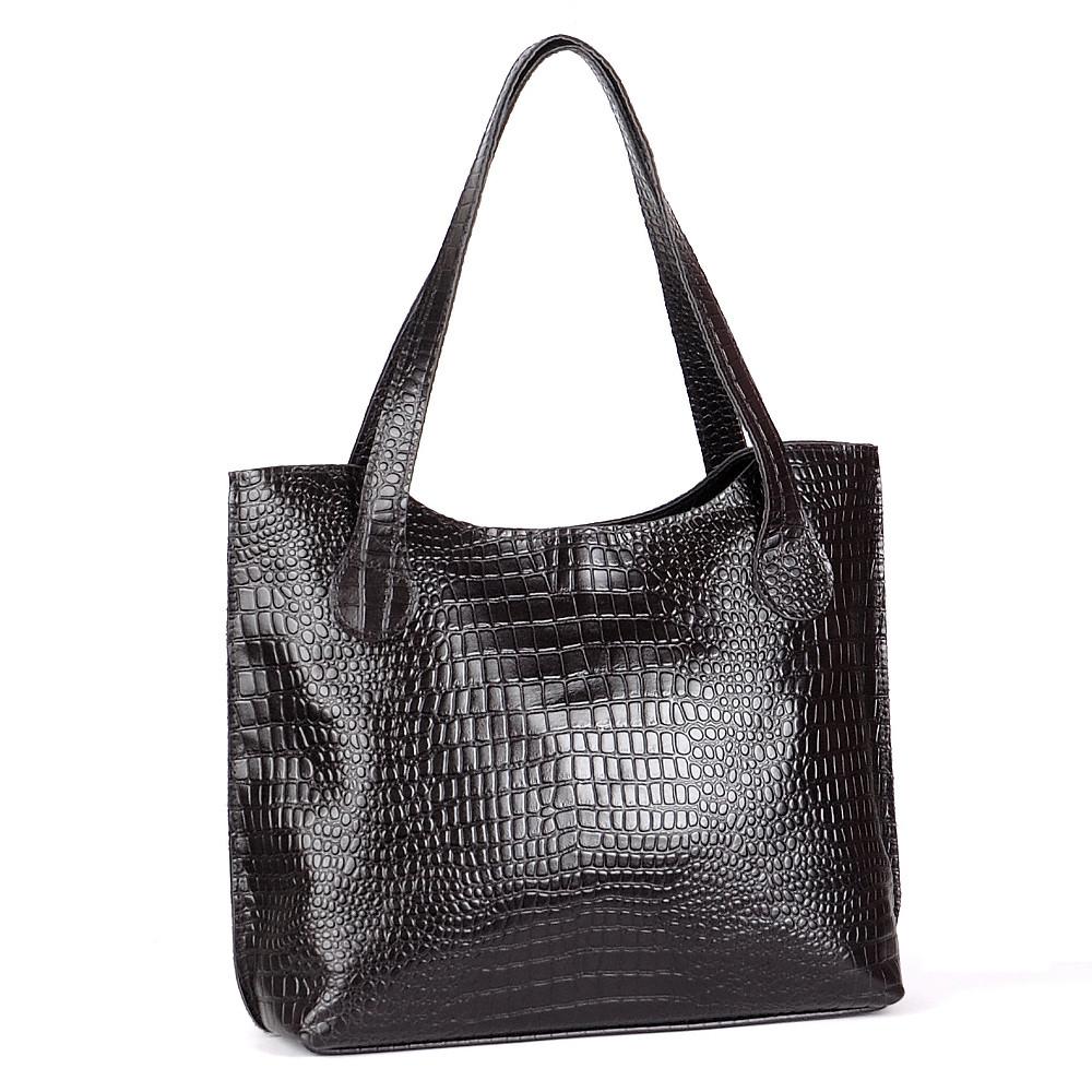 Кожаная сумка модель 1 черный кайман, фото 1