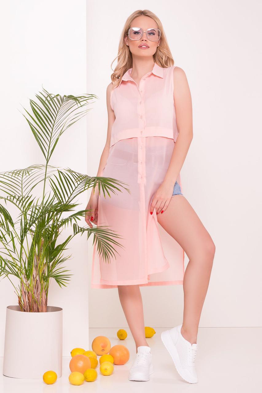 Платье рубашка Дива Шифон с коротким рукавом
