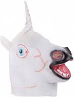Маска резиновая Единорог белый, Карнавальные маски
