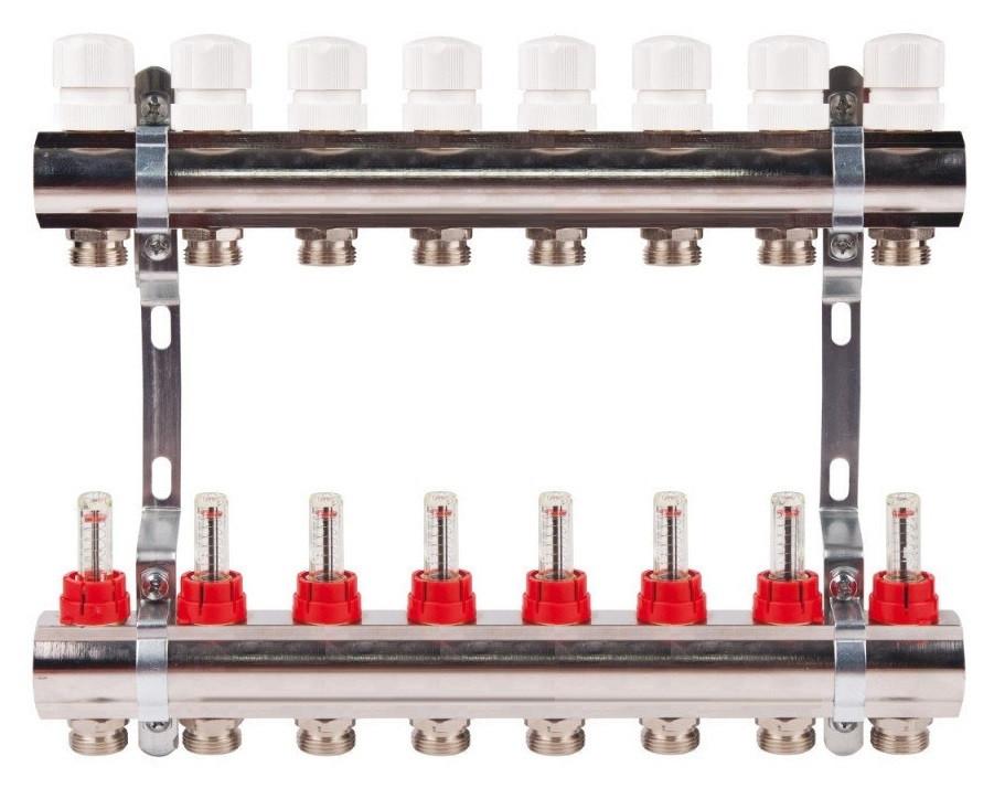 Коллектор на 8 контуров с расходомерами для теплых полов
