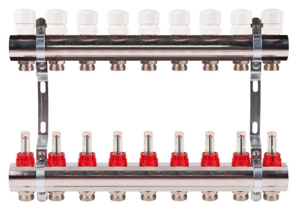 Коллектор на 9 контуров с расходомерами для теплых полов