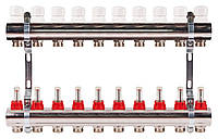 Коллектор на 10 контуров с расходомерами для теплых полов