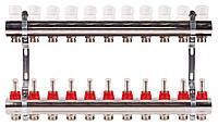 Коллектор на 11 контуров с расходомерами для теплых полов