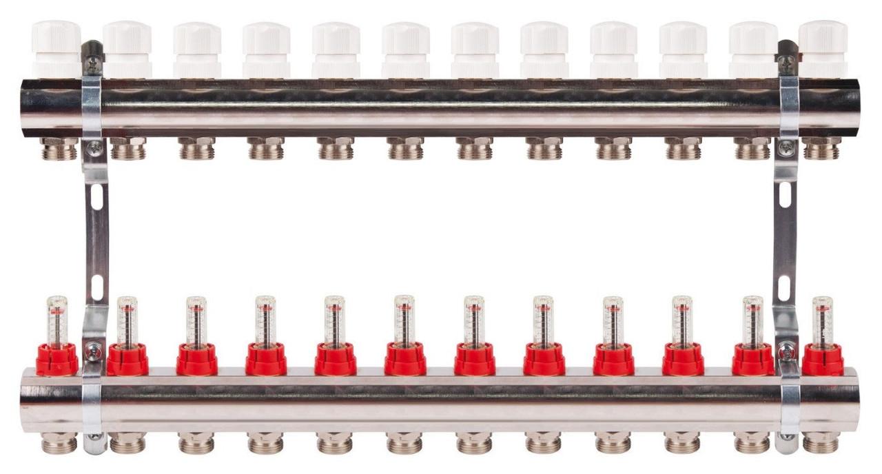 Коллектор на 12 контуров с расходомерами для теплых полов