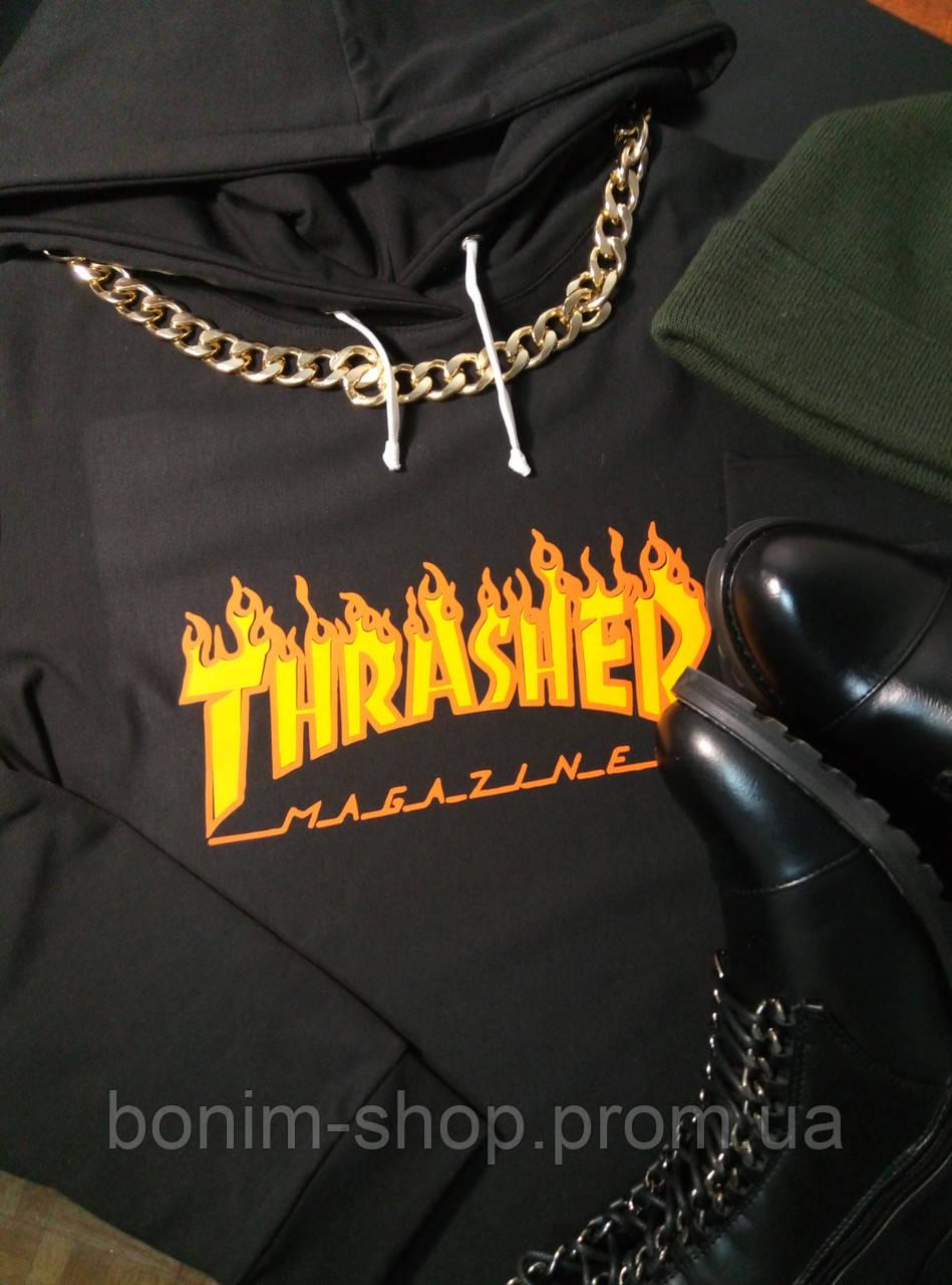Женское черное худи Thrasher