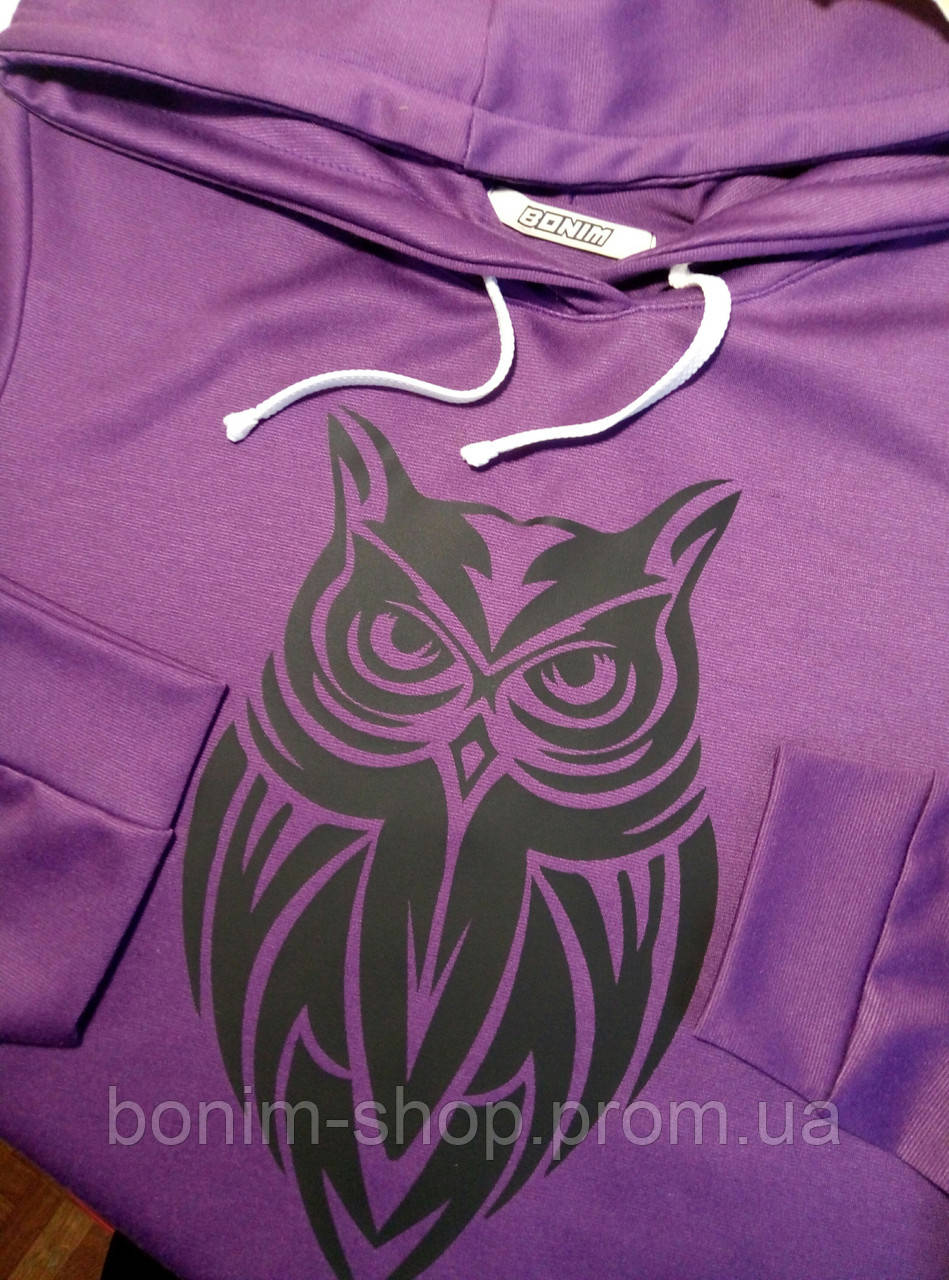 Женское фиолетовое худи с принтом Филин