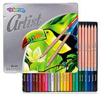 Карандаши цветные в металлической упаковке, серия Artist, 24 цвета, Colorino