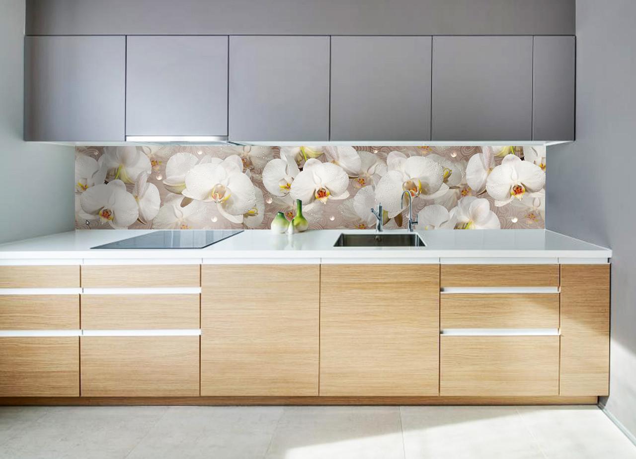 """Скинали на кухню Zatarga """"Орхидея и капли росы"""" 600х2500 мм белый виниловая 3Д наклейка кухонный фартук"""