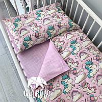 """Детское односпальное постельное белье в кроватку Warmo™ """"Розовые единороги"""""""